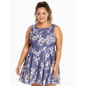 Torrid Sz 16 Mesh Floral Fit & Flare Dress Purple